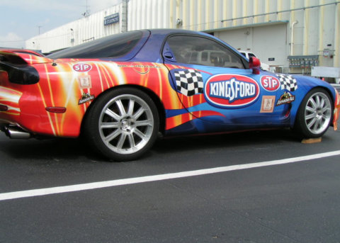 a Kingsford racing car