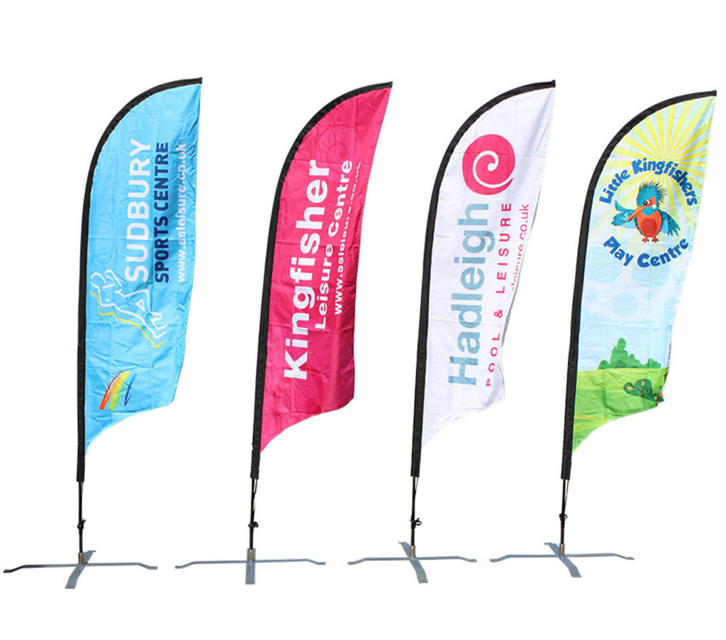 group of feather flags