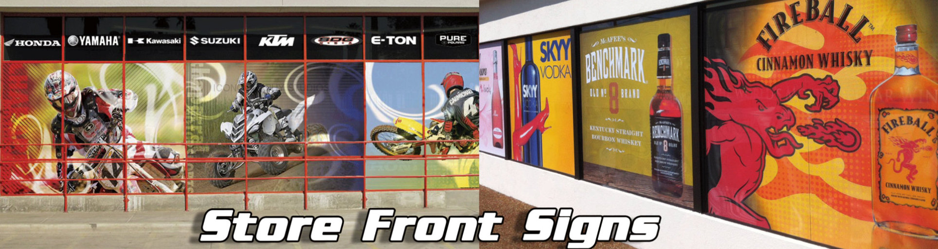 various store front signs