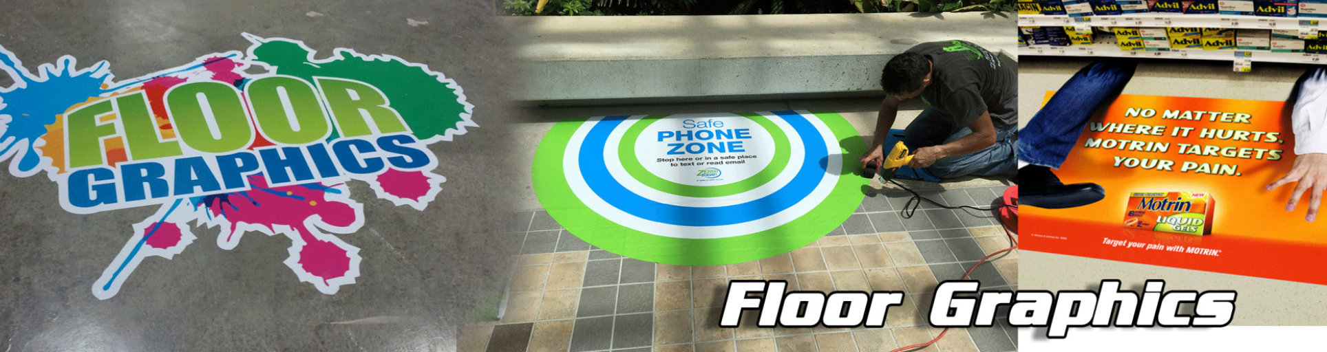 a man putting floor graphics