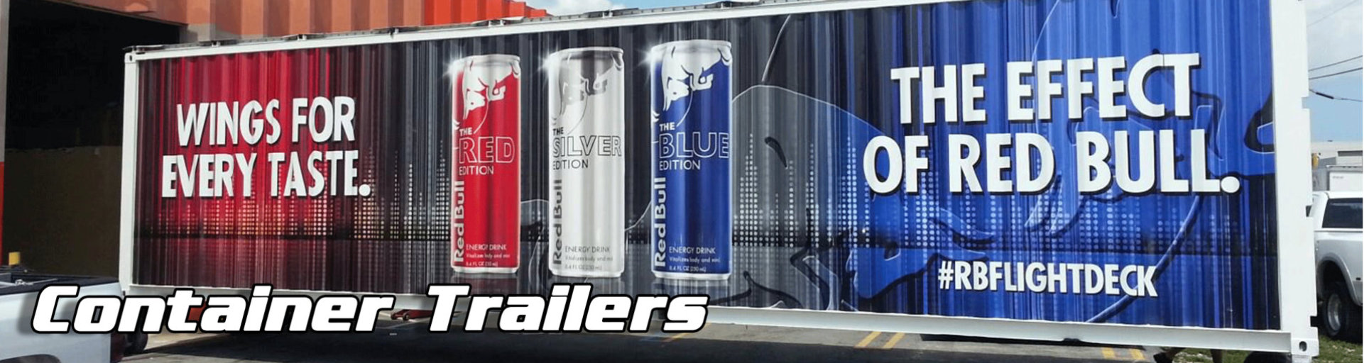 container trailer covered in Red Bull vehicle wrap