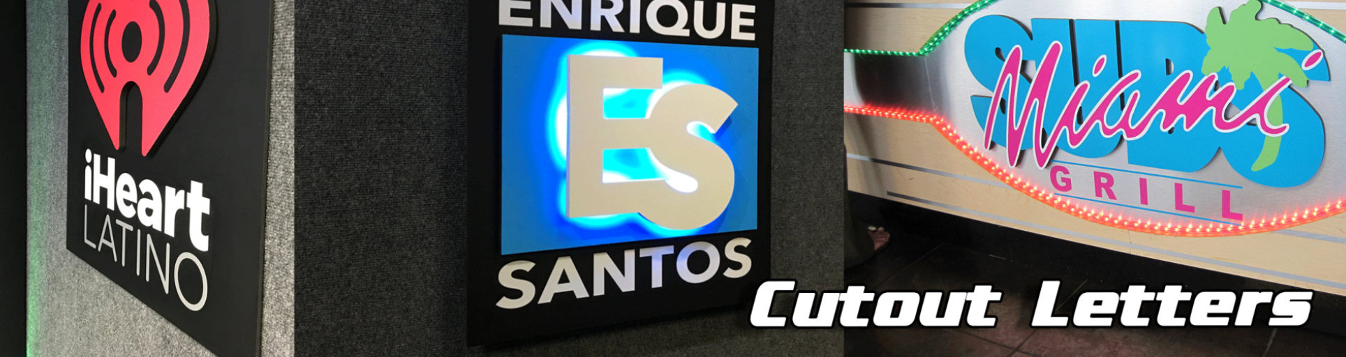 cut out letters of iHeart Latino and Enrique Santos on the wall