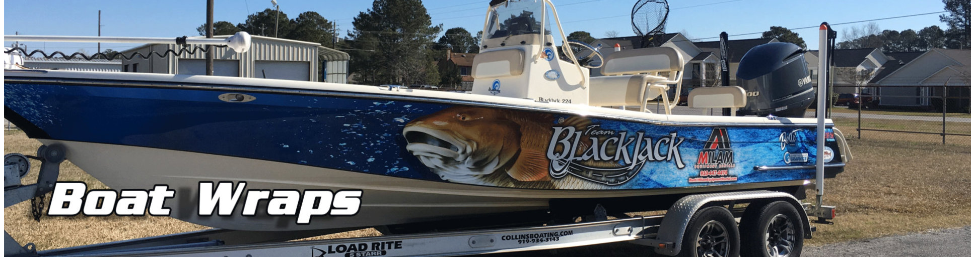 a picture of a boat in wrap advertising