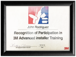 John Rodriguez's Recognition of Participation in 3M Advanced Installer Training