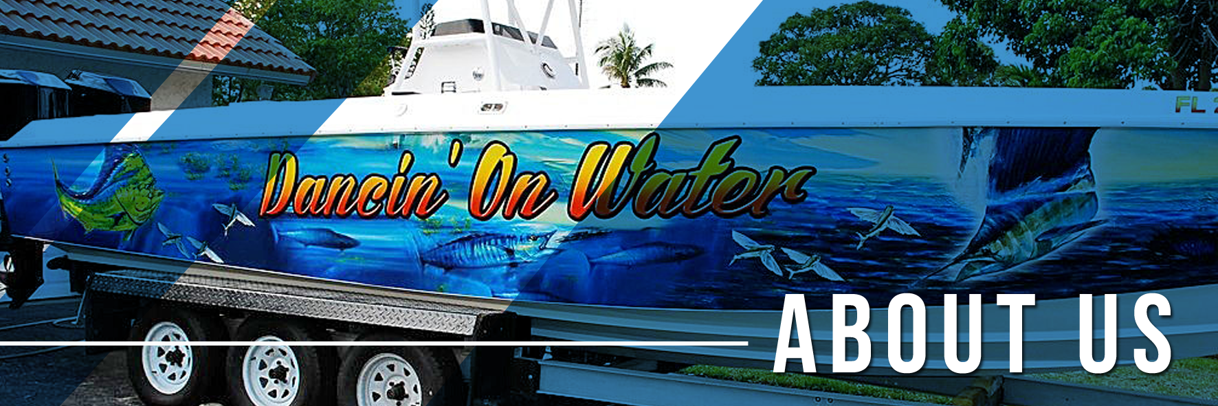 a boat in advertising wrap